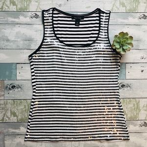 White House Black Market Striped Sequin Tank